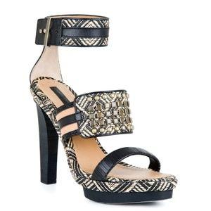 BCBGMAXAZRIA Varushka Studded Raffia Heels Sandal